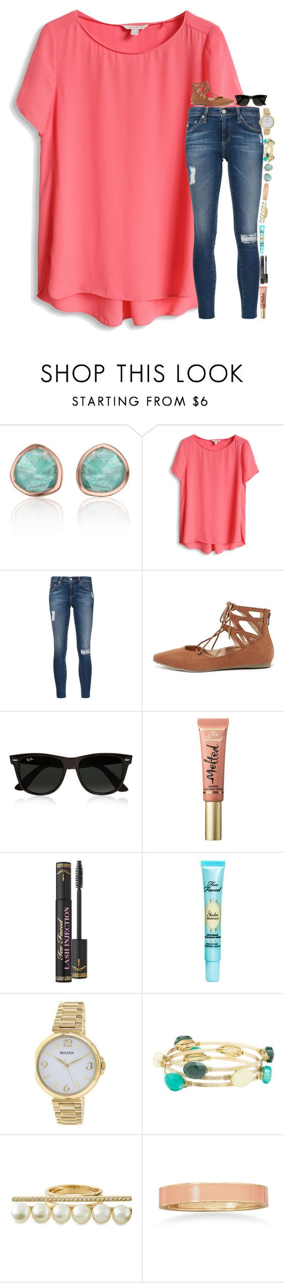 """Nachosssss "" by simply-lilyy ❤ liked on Polyvore featuring Monica Vinader, AG Adriano Goldschmied, Liliana, Ray-Ban, Too Faced Cosmetics, Bulova, Charlotte Russe, Gold Philosophy and BillyTheTree"