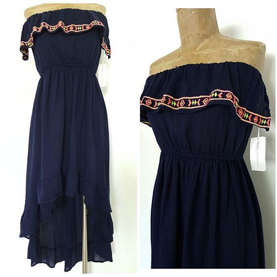 New BOHO Dress Size Medium Blue High Low Ruffle Summer Beach Ethnic Strapless #Truth #Maxi #Festive