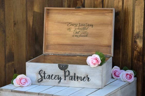 Distressed Flat Top Wedding Card Box with Inside Lid Engraving