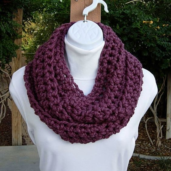 Crochet Infinity Scarf Loop Cowl Medium Dark Fig by MicheleMade