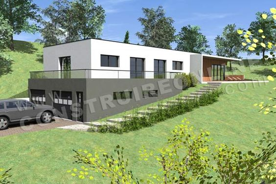 Photo maison contemporaine sur terrain en pente terrain en pente pinterest photos et garage for Amenagement exterieur maison terrain en pente