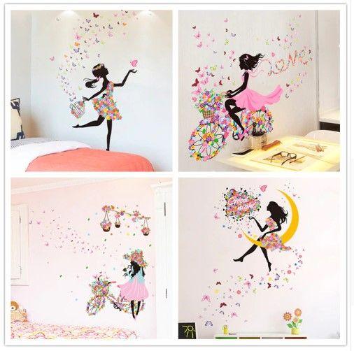 Shijuehezi Fee Madchen Wandaufkleber Diy Schmetterlinge Wandtattoos Fur Kinderzimmer Baby Schlaf Madchenzimmer Dekoration Kinder Zimmer Kinderzimmereinrichtung