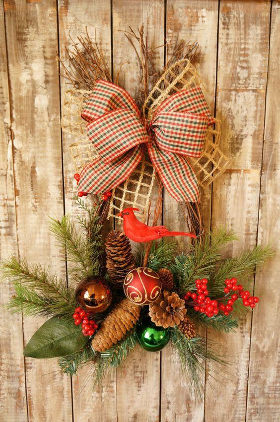 Christmas Wreath SALE! Cardinal Christmas Wreath Swag Door Decor
