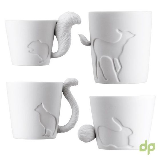 ***FIRST TIME IN INDIA***Just like forest animals come out from the fairy tale books! Their feathery tails are on mat finished mugs. These mugtails bring a mixture of a warm atmosphere, cute character and an elegant design. The type of size of the animal is shown by the size of the mug so they are all different. They can be used to drink from, hold candles in or even as an accessory holder.