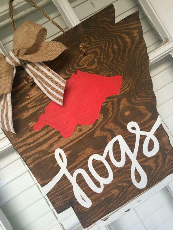 "Arkansas ""hogs"" Wooden Door Hanger by arhale4 on Etsy"