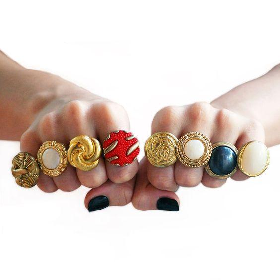 Anéis de botão vintage (UNIDADE) R$18.00