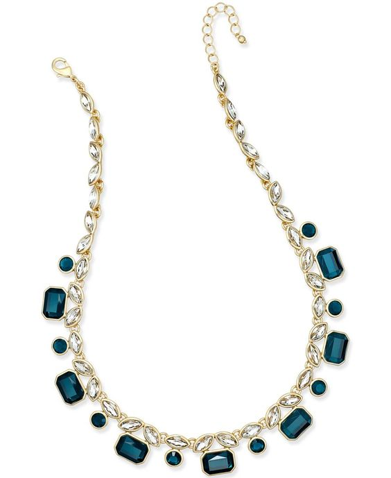 Charter Club Gold-Tone Blue and Clear Crystal Collar Necklace, Only at Macy's