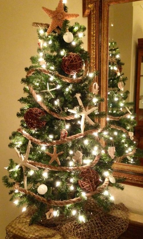 Coastal christmas tree with rope garland for more