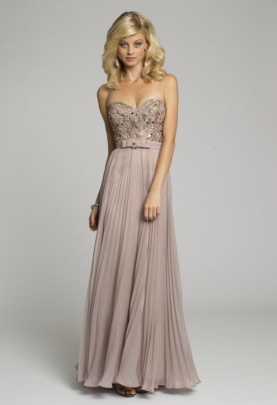 Bridesmaid Dresses - Metallic Chiffon Strapless Long Dress from ...