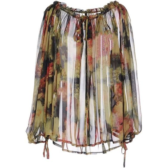 Plein Sud Par Fayҫal Amor Blouse (€115) ❤ liked on Polyvore featuring tops, blouses, military green, army green blouse, floral tops, v-neck tops, floral print blouse and pleated top