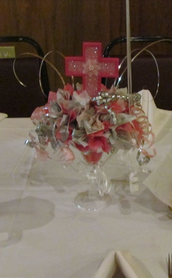 Baptism centerpiece things i ve made pinterest