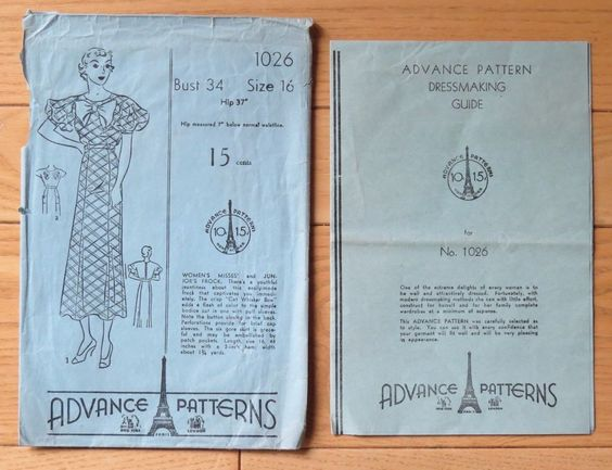 """Vintage 1920's Advance Sewing Pattern 1026~ Misses' Dress with """"Cat Whisker Bow"""""""