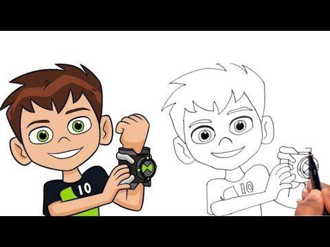 How To Draw Ben 10 From Ben 10 Cartoon Step By Step رسم بن تن من كرتون بن تن خطوة بخطوة Youtube Drawing Tutorial Drawings Disney Characters