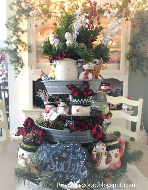 Winter Galvanized Tiered Tray Priscillas Tiered Tray Decor Tray Decor Christmas Galvanized Tiered Tray