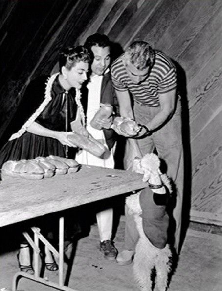 With Jeff Chandler during the making of Female On The Beach 1955
