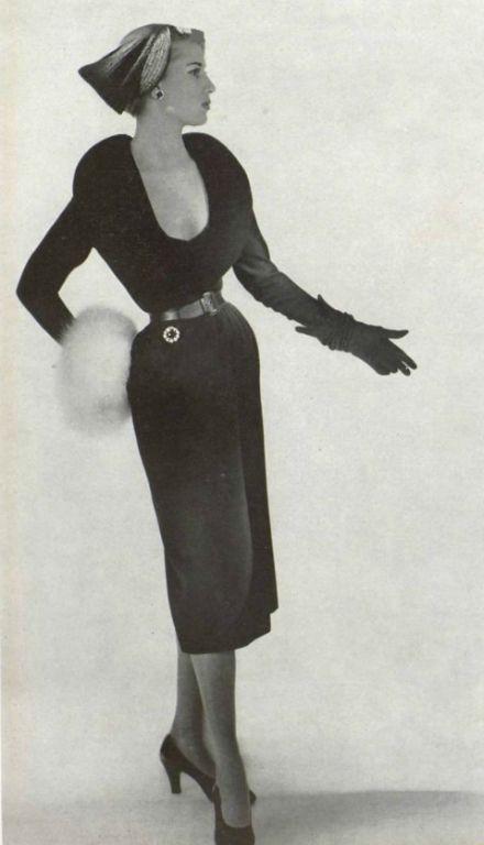 Christian Dior Cocktail Ensemble, 1950 I love fur and I adore gloves.