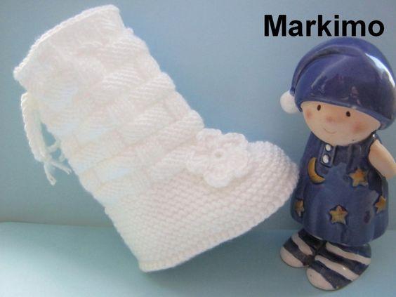 Babystiefel Weiß Gr. 2 gestrickt  von Markimo auf DaWanda.com