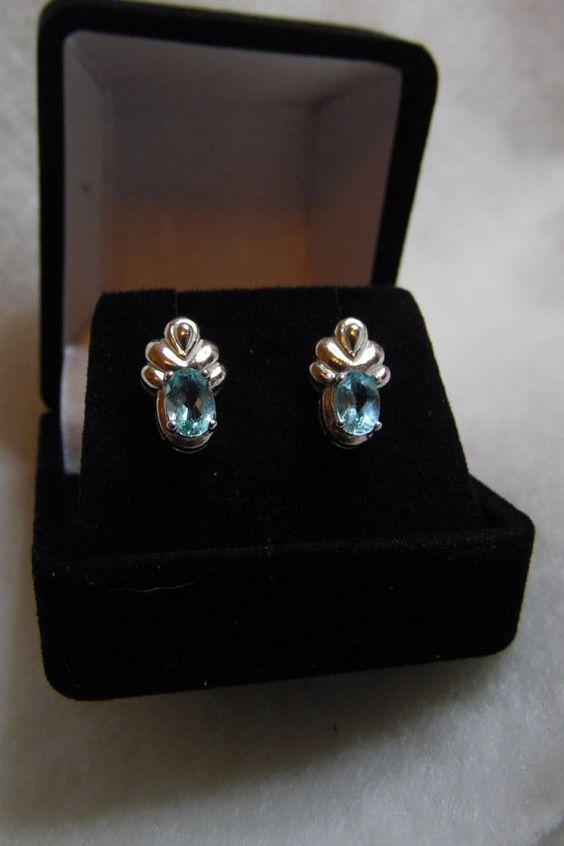 Paraiba Tourmaline Earrings. Two 6 x 4 mm ovals.  Beautiful Brazilian Blue…