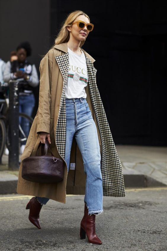 Oversized trench coat + white tee + high waisted denim + ankle boots = perfect fall outfit #streetstyle #ootd #womensfashion