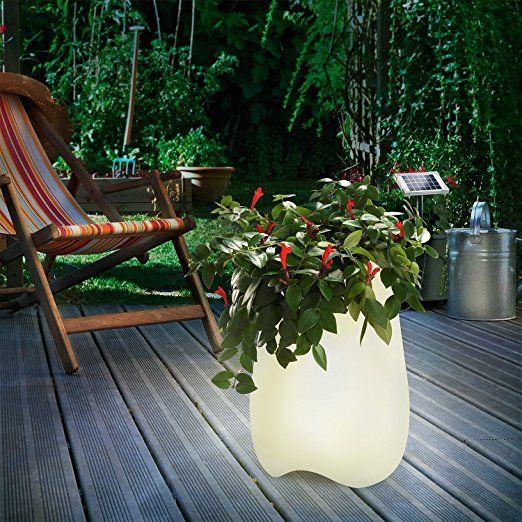 Solar Blumentopf Flowerpott Beleuchteter Pflanzkubel Mit 8