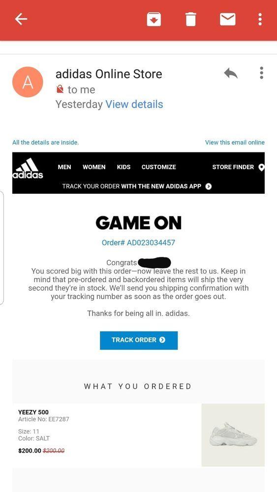adidas yeezy 500 salt SIZE 11 CONFIRMED