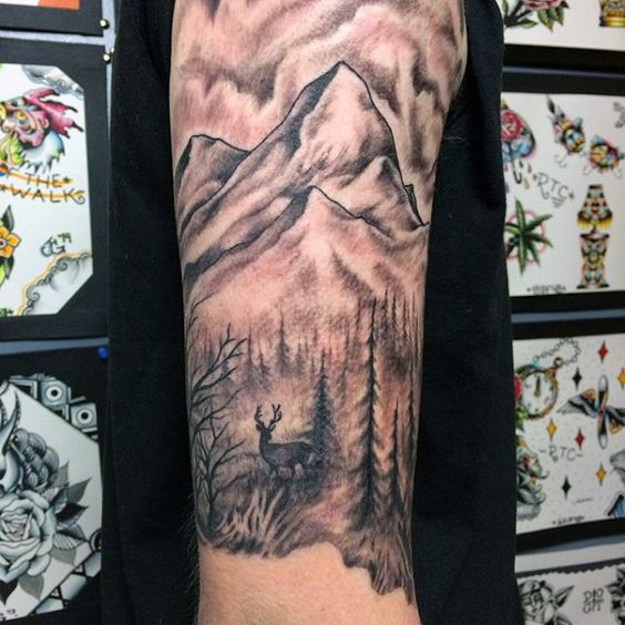 Upper arm half sleeve mens deer and mountain tattoos for Upper arm half sleeve tattoos