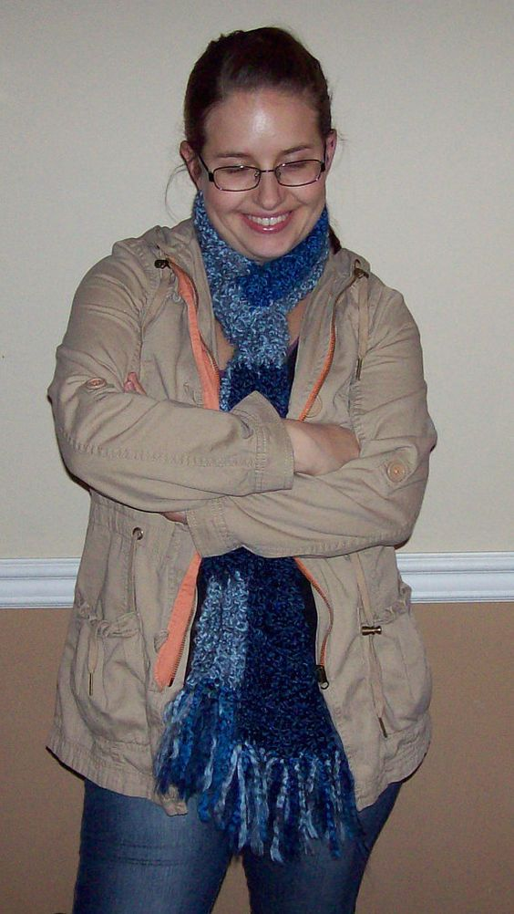 Two-toned Blue Crocheted Scarf with Fringe