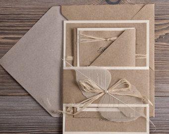 Öko Hochzeitseinladungen Recycling Papier von 4invitationwedding