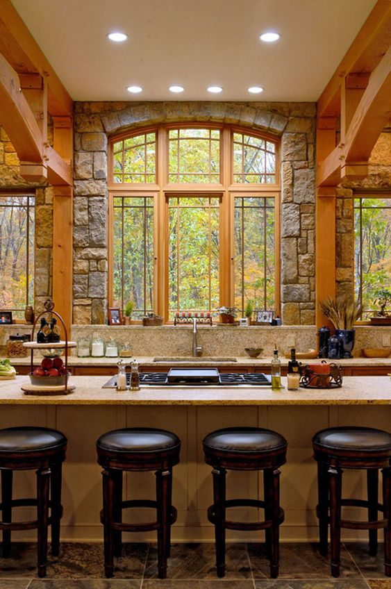 Rustic Kitchen by Timber Frame Interior Design - Normerica Authentic Timber Frame