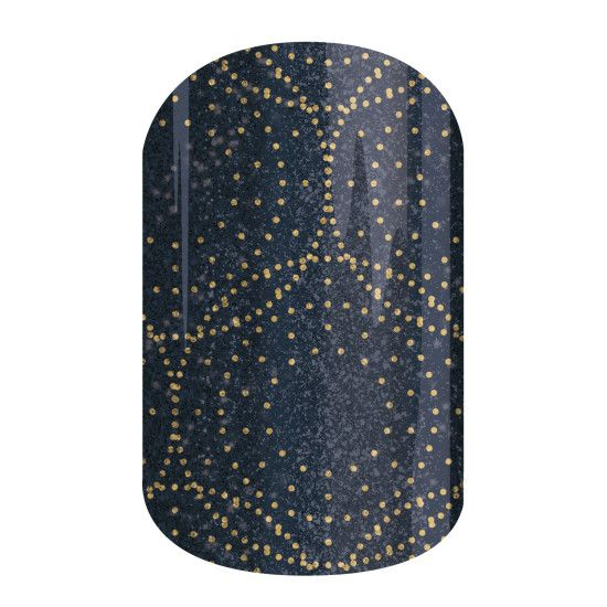 Stellar | Jamberry | Golden-dotted circles adorn this almost-black overlay in 'Stellar'.