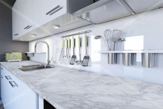 Adhésif plan de travail marbre blanc brillant - MARBRE-2800. Luminis-Films