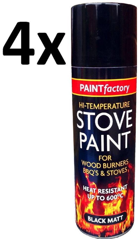 4x Heat Resistant Matt Black Spray Paint Stove High Temperature 200ML in Vehicle…