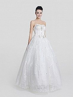 Ivory Sweetheart Satin and Lace Ball Gown with Beaded and Rhinestone Bodice - USD $177.79