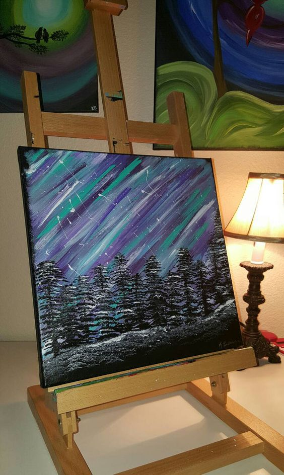 Check out this item in my Etsy shop https://www.etsy.com/listing/268119900/aurora-borealis-in-acrylic-paint-on