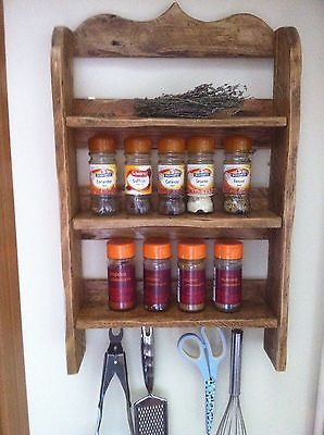 Reclaimed Rustic Wood Hand Crafted Spice Rack/kitchen Shelving | eBay