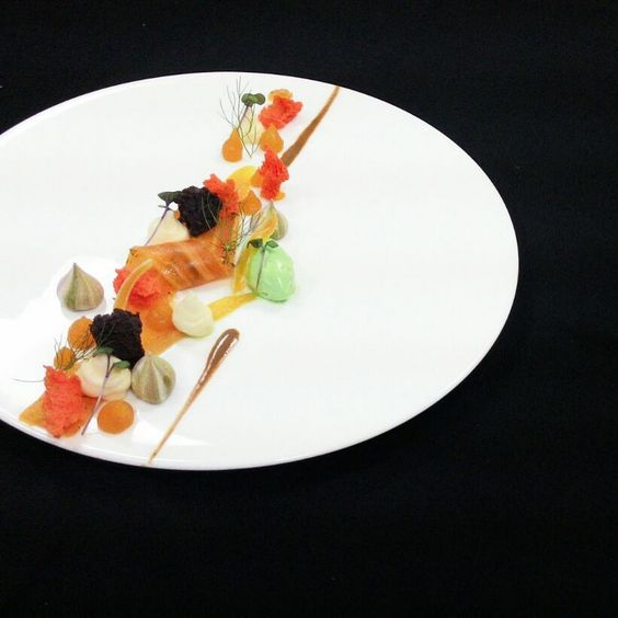 Cured Papaya Gravlax, Mint Ice Cream Black Tea Reduction #Enggi