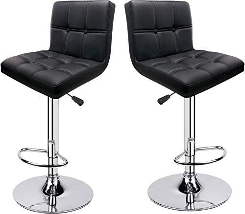 New Leader Accessories Square Back Bar Stools Set 2 Swivel