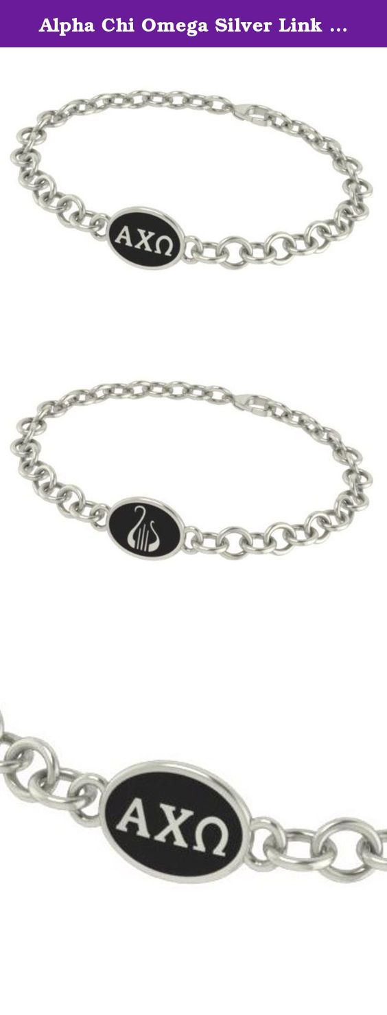 Alpha Chi Omega Silver Link I.D. Bracelets With Black Enamel. Our Alpha Chi Omega sorority jewelry and bracelets are made in solid sterling silver with a high quality sterling silver Antiqued charm. Our bracelets have the finest detail and are the highest quality of any Alpha Chi Omega sorority bracelet available. In stock for fast shipping and if for some reason you don't like it? Send the bracelet back for a full refund..... Alpha Chi Omega Silver Jewelry - Silver Link Bracelet…