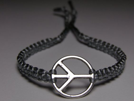 Peace Sign Bracelet with gray nylon thread by ByKarianne on Etsy, kr55.00/$9.34