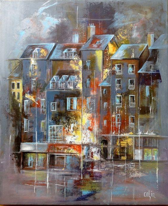 Peinture abstrait automne honfleur 60x73 acrylique sur for Tableaux peinture sur toile