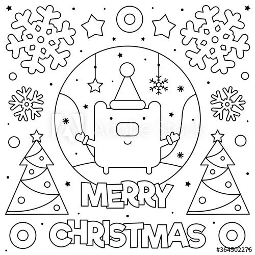 Merry Christmas Coloring Page Black And White Vector Illustration Ad Coloring Page In 2020 Merry Christmas Coloring Pages Coloring Pages Vector Illustration