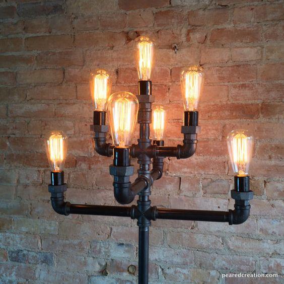 Floor Lamp  Multiple Edison Bulb Industrial por newwineoldbottles