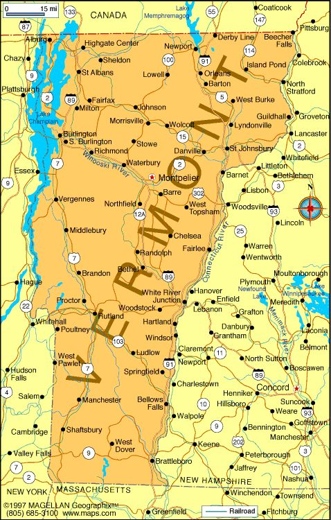 The landlocked vermont state is bordered by massachusetts in the south; Map Of Vermont Is The 14th State To Enter The Union It Became A State On Mar 4 1791 Vermont Vacation Vermont New England States