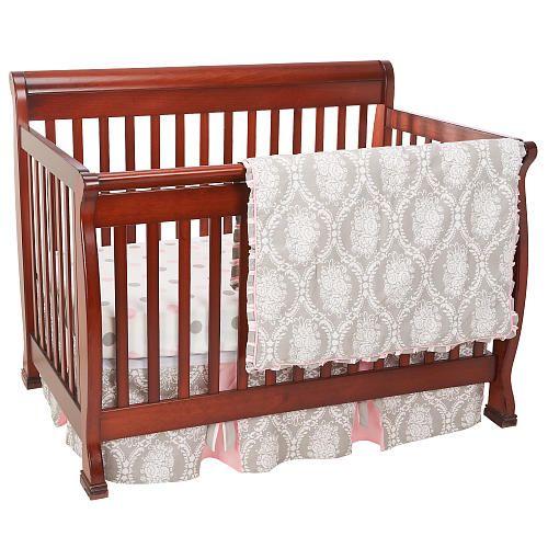 My Baby Sam Olivia Rose 3 Piece Crib Bedding Set Gray