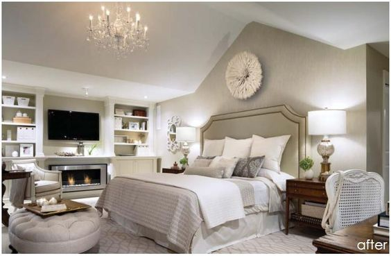 property brothers master bedroom I Like the dark bedside tables offsetting the white bed: