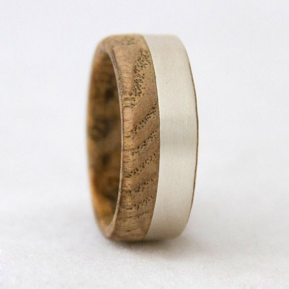 wood wedding band with silver line black ash wood by aboutjewelry, $130.00