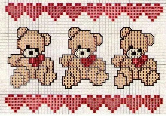 Teddy Bear, Valentine's Day Crossstich: