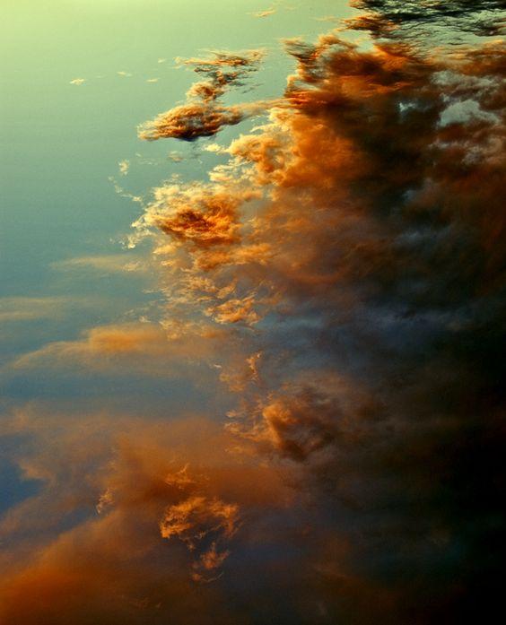 Orange colored sky.