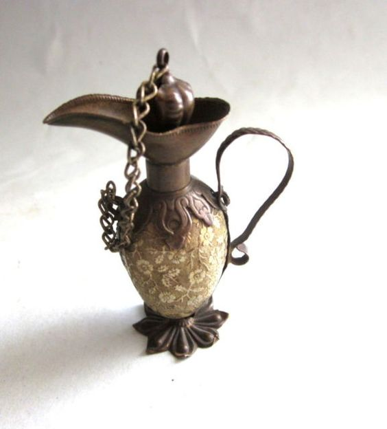 Antique Gilt Brass Ewer Shaped Perfume Bottle | eBay