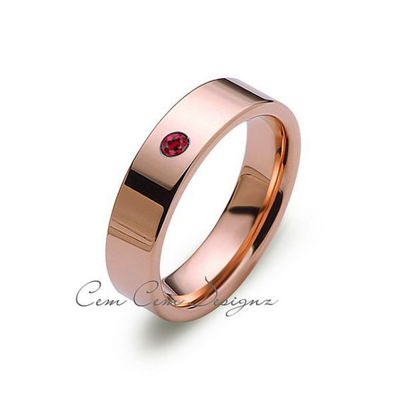 6 mm Rose Gold,Red Ruby, Tungsten Wedding Band,Flat Tungsten ,Tungsten Wedding Ring,Anniversary Ring,Engagement Band,Handmade,His,Hers,